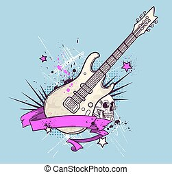 guitarra, elétrico, fundo