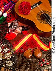 guitarra, elementos, espanhol, flamenco, clássicas