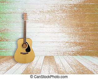guitarra, em, antigas, sala, fundo
