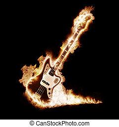 guitarra, enveloped, electrónico, llamas
