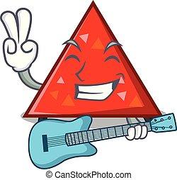guitarra, estilo, mascota, triangel, caricatura