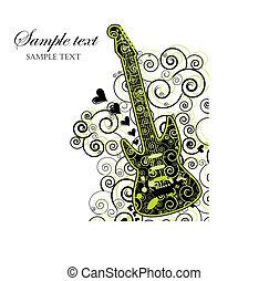 guitarra, evento, convite