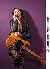 guitarra, excitado, femininas, jogador