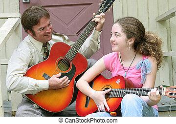 guitarra, família, riso