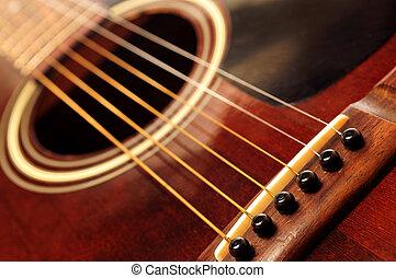 guitarra, fim, antigas, cima
