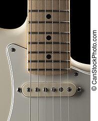 guitarra, fim, branca, elétrico, cima