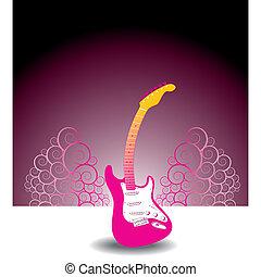 guitarra, floral, fundo