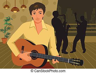 guitarra, frente, homem, tocando, vista