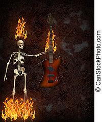 guitarra, fuego