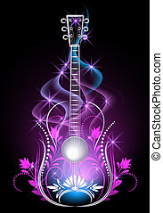 guitarra, fumaça