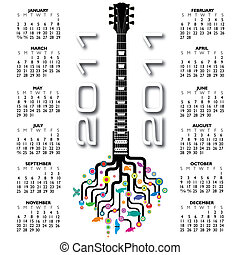 guitarra, funky, 2011, calendário