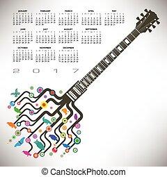 guitarra, funky, calendário