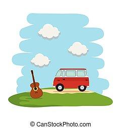 guitarra, furgão, paisagem, hippy