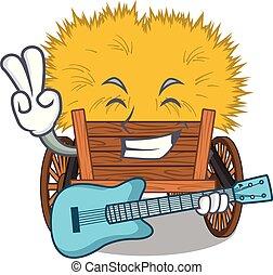 guitarra, gaveta, hayride, brinquedo, caricatura