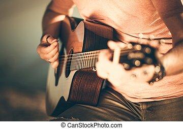 guitarra, guitarrista, tocando