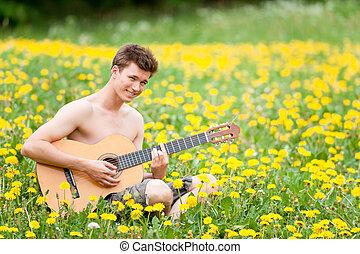 guitarra, hombre