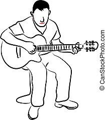 guitarra, homem