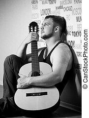 guitarra, homem jovem