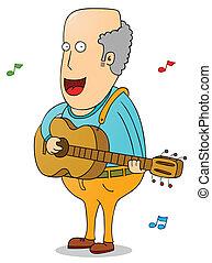 guitarra, homem velho