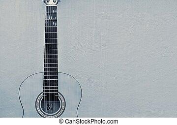 guitarra, instrumento, -, cadeia, textura