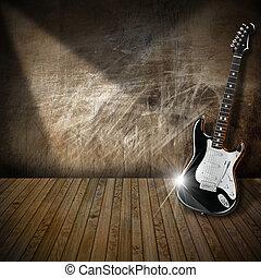 guitarra, interior, grunge, habitación, eléctrico