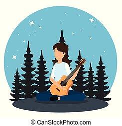 guitarra, jogo, mulher, paisagem, natureza