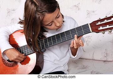 guitarra, juego, niña, clásico, joven