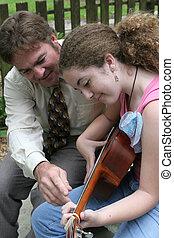 guitarra, lição, 2