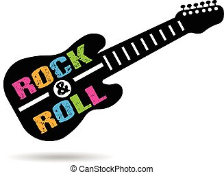 guitarra, logotipo, rollo, roca