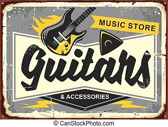 guitarra, loja, retro, anúncio, placa sinal