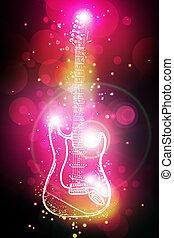 guitarra, luz, neón, eléctrico, puntos