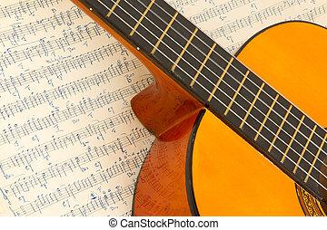 guitarra, música, antigas, folha