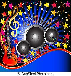 guitarra, música, orador, fundo, estrelas