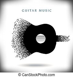 guitarra, música, plano de fondo