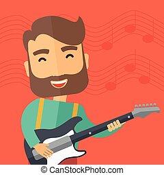guitarra, músico, elétrico, tocando