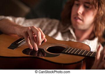 guitarra, músico, el suyo, juegos, joven