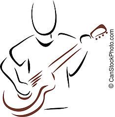 guitarra, músico