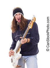 guitarra, músico, jogando baixo