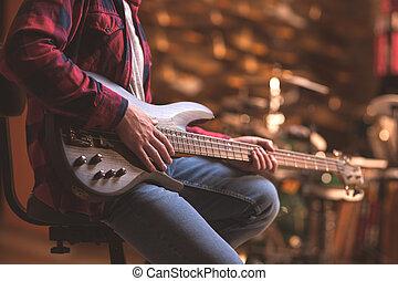 guitarra, músico, jovem, baixo