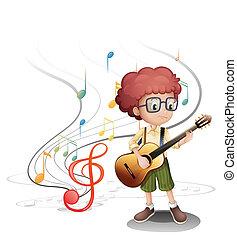 guitarra, músico, jovem, tocando
