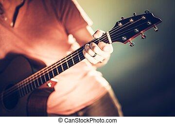 guitarra, manuseio, pescoço