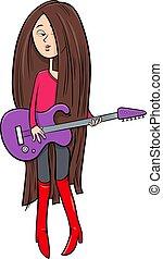 guitarra, menina, caricatura, ilustração