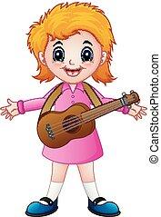 guitarra, menina, caricatura