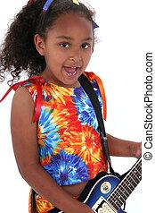 guitarra, menina, criança