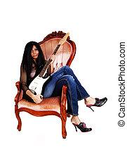 guitarra, menina, sitting.