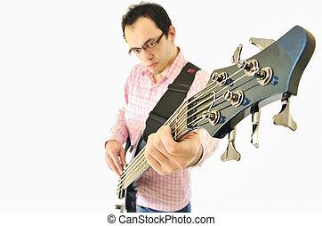 guitarra, menino, baixo, ampère