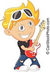 guitarra, menino, caricatura, tocando