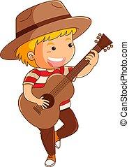 guitarra, menino, chapéu, tocando, marrom