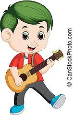 guitarra, menino, feliz, tocando, acústico