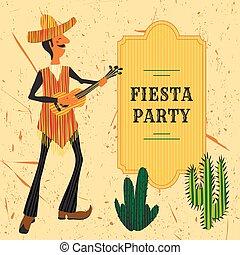 guitarra, mexicano, tocando, homem